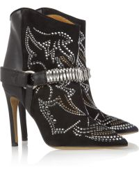 Isabel Marant Milwauke Studded Suede and Leather Ankle Boots - Lyst