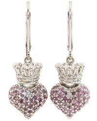 King Baby Studio Small 3d Pink Cz Crowned Heart Earrings - Lyst