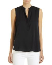 Vince Sleeveless Half Placket Blouse - Lyst