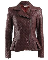 Alexander McQueen Quilted Zipper Sleeve Leather Jacket purple - Lyst