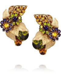Bijoux Heart - Sur Leau Goldplated Swarovski Crystal Clip Earrings - Lyst