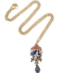 Bijoux Heart | Corail Noir 24karat Goldplated Swarovski Crystal and Opal Necklace | Lyst