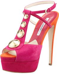 Brian Atwood Clizia Studded Suede Sandal - Lyst