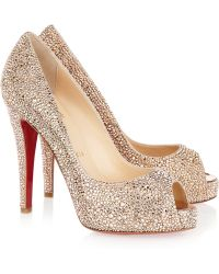 Christian Louboutin Very Richie 120 Swarovski Crystal Suede Pumps beige - Lyst