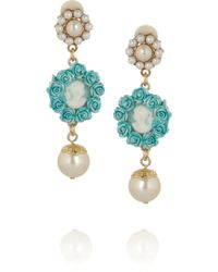 Dolce & Gabbana Goldplated Faux Pearl Cameo Clip Earrings blue - Lyst