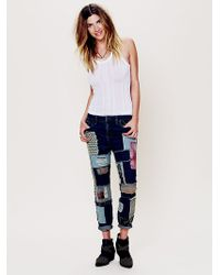 Free People Patched Slim Slouch Jeans - Lyst