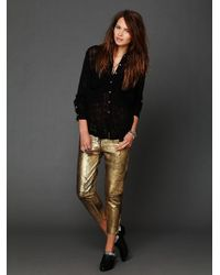 Free People Fear and Loathing Gold Leather Pants - Lyst