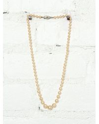 Free People Vintage Creme Costume Pearl Necklace - Lyst