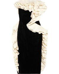 Lanvin Ruffled Velvet Dress black - Lyst