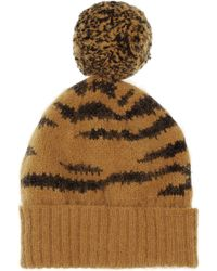 Mulberry - Tigerintarsia Angorablend Beanie - Lyst
