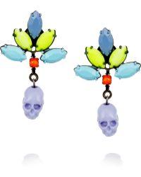 Tom Binns - Rainbows End Painted Swarovski Crystal Skull Earrings - Lyst
