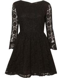 Topshop Crochet Lace Flippy Dress black - Lyst
