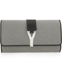 Saint Laurent Chyc Leathertrimmed Metallic Clutch - Lyst