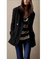 Burberry Brit - Oversize Collar Pea Coat - Lyst