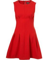 Topshop Seam Waist Shift Dress red - Lyst