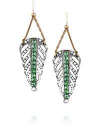 Lulu Frost Pewtertone Crystal Leaf Earrings green - Lyst
