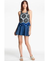 Thakoon Addition Leather Lace Tank Dress - Lyst