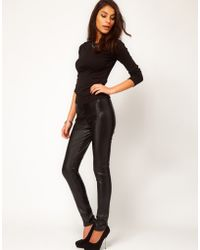 ASOS Collection Asos Leather Look High Shine Skinny Trouser - Lyst