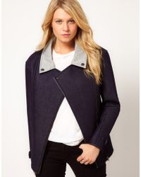 ASOS Collection Asos Biker Jacket in Bonded Denim - Lyst