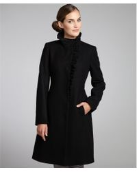 DKNY Black Wool Blend Ruffle Front Coat - Lyst