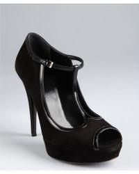 Gucci Black Suede Vernice Tstrap Peep Toe Pumps - Lyst