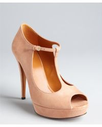 Gucci  Suede Betty T-Strap Platform Peep Toe Pumps khaki - Lyst
