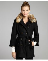 Laundry by Shelli Segal Black Boiled Stretch Wool and Faux Fur Collar Belted Coat - Lyst