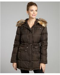 Laundry by Shelli Segal - Chocolate Down Filled Zip Front Faux Fur Trimmed Hooded Coat - Lyst