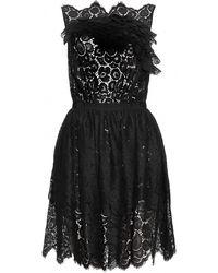 Nina Ricci Lace Dress with Skirt Overlay black - Lyst