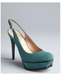 Pour La Victoire Emerald Suede Platform Velerie Slingbacks green - Lyst