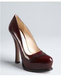 Prada  Leather Stitched Platform Pumps red - Lyst