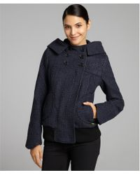 SOIA & KYO Blue Houndstooth Wool Blend Double Breasted Hooded Filia Active Coat - Lyst