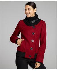 SOIA & KYO Red Wool Blend Junita Button Front Jacket - Lyst