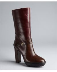 Tod's Brown Leather Mid-Calf Platform Boots - Lyst