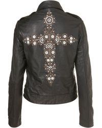 Topshop Cross Embroidered Biker Jacket - Lyst