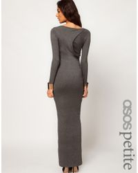 Asos Petite Exclusive Maxi Dress with Twist Back and Long Sleeves - Lyst