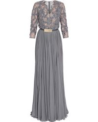 Elie Saab Georgette and Lace Gown - Lyst