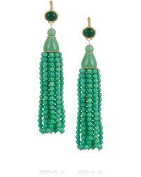 Kenneth Jay Lane Goldplated Beaded Tassel Earrings green - Lyst