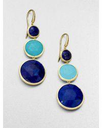 Marco Bicego Jaipur Resort Lapis, Turquoise & 18K Yellow Gold Drop Earrings - Lyst