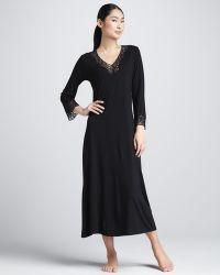 Natori Lhasa Jersey Lounge Gown Heather Gray - Lyst
