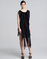 Nina Ricci Feather chiffon Dress - Lyst
