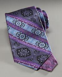 Robert Graham - Medallion-stripe Silk Tie, Purple - Lyst