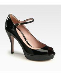 Gucci Lisbeth Patent Leather Mary Jane Platform Pumps - Lyst