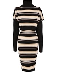 Karen Millen Blanket Stripe Knit Dress - Lyst