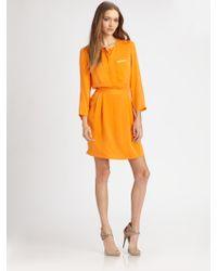 Theory Brunella Silk Dress yellow - Lyst