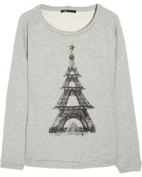 Maje Eiffel Tower Cotton Sweatshirt gray - Lyst