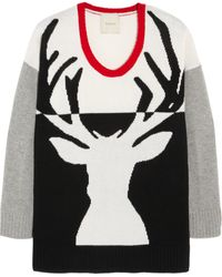 Mason by Michelle Mason Reindeer Intarsia Wool and Cashmereblend Sweater black - Lyst