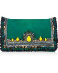 Matthew Williamson Swarovski Crystalembellished Suede Clutch green - Lyst