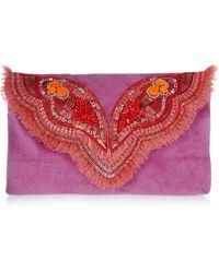 Matthew Williamson Butterfly Embellished Suede Clutch - Lyst