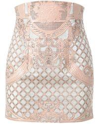 Balmain Velvet and Leather Miniskirt - Lyst